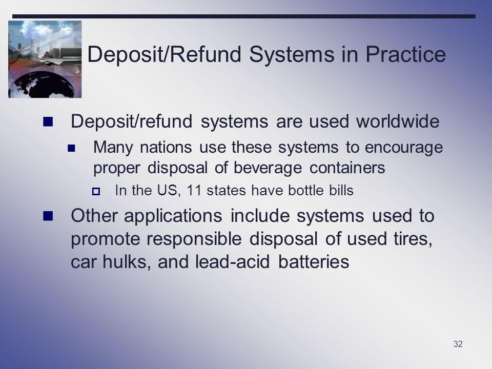 32 Deposit/Refund Systems in Practice Deposit/refund systems are used worldwide Many nations use these systems to encourage proper disposal of beverag
