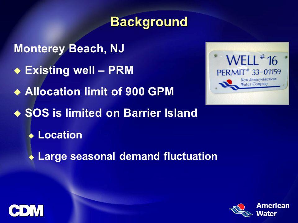 American WaterBackground Monterey Beach, NJ u Existing well – PRM u Allocation limit of 900 GPM u SOS is limited on Barrier Island u Location u Large seasonal demand fluctuation