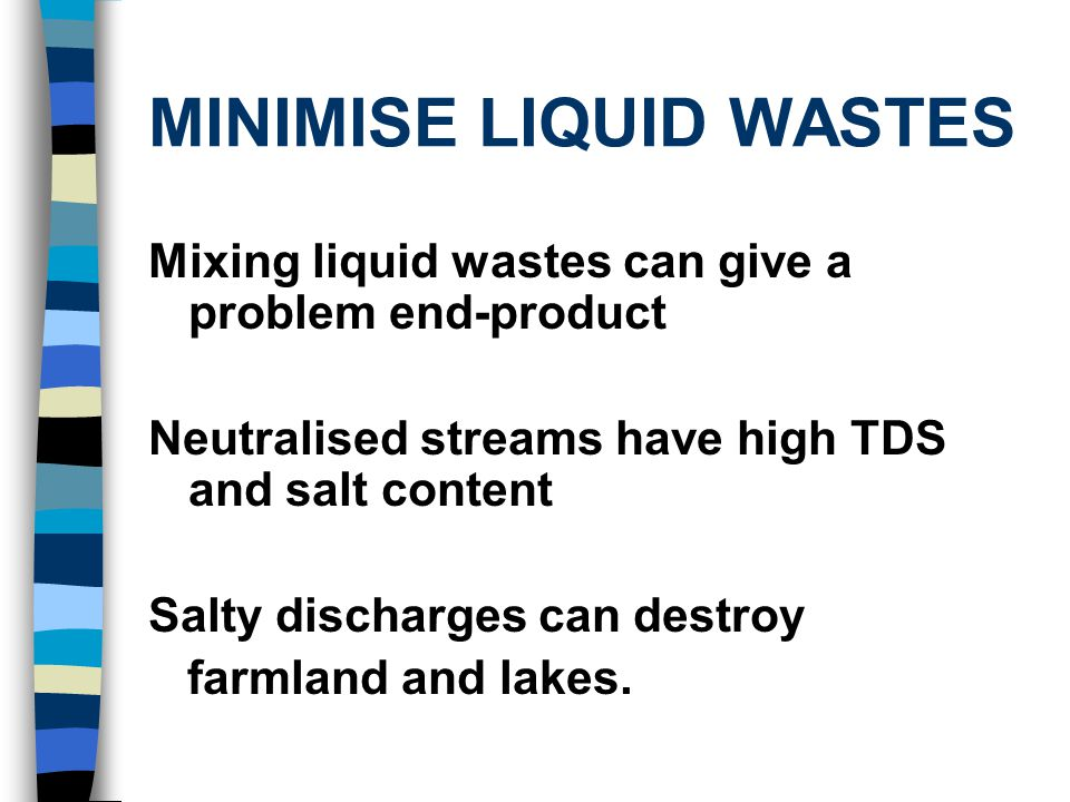 GARBAGE CAN BE YOUR FRIEND Excel Industries bio-remediates its toxic effluents on city waste : Endosulfan-tainted effluent is used on aerobic wind-rows First used at 3% dilution, then stage-wise upto 30% strength.