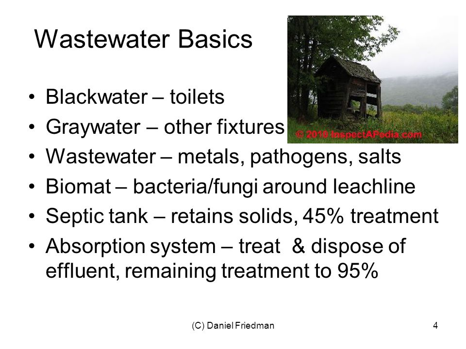 (C) Daniel Friedman4 Wastewater Basics Blackwater – toilets Graywater – other fixtures Wastewater – metals, pathogens, salts Biomat – bacteria/fungi around leachline Septic tank – retains solids, 45% treatment Absorption system – treat & dispose of effluent, remaining treatment to 95%