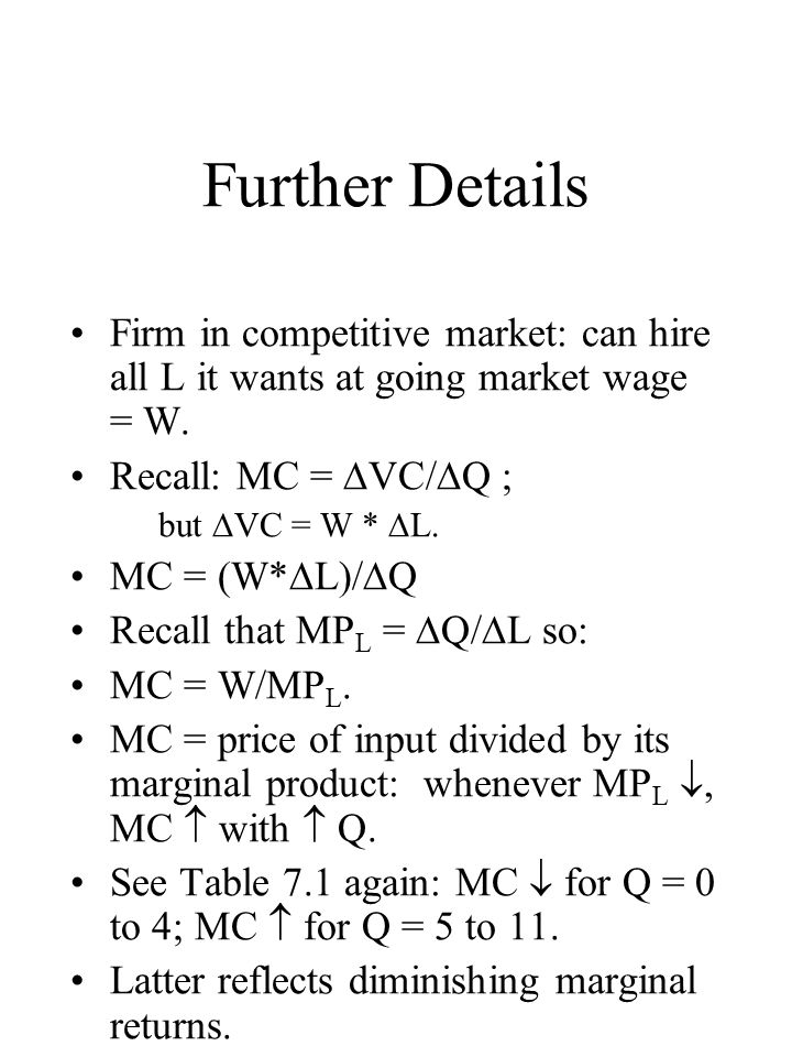 Further Details Firm in competitive market: can hire all L it wants at going market wage = W.