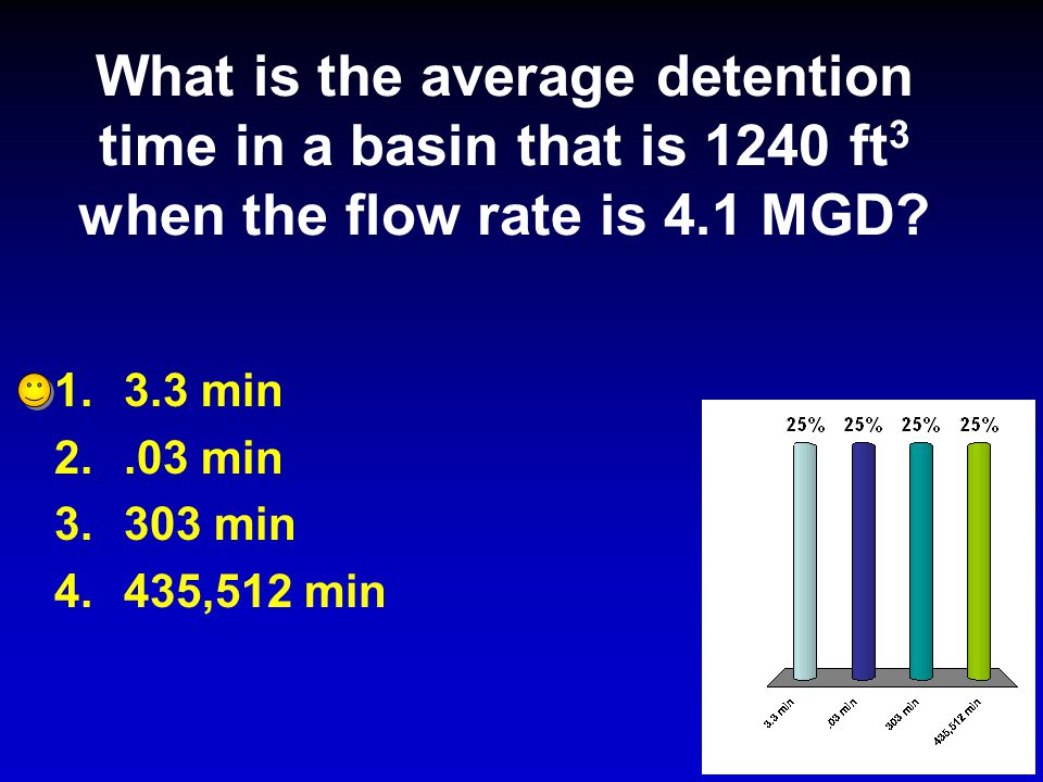 What is the average detention time in a basin that is 1240 ft 3 when the flow rate is 4.1 MGD.