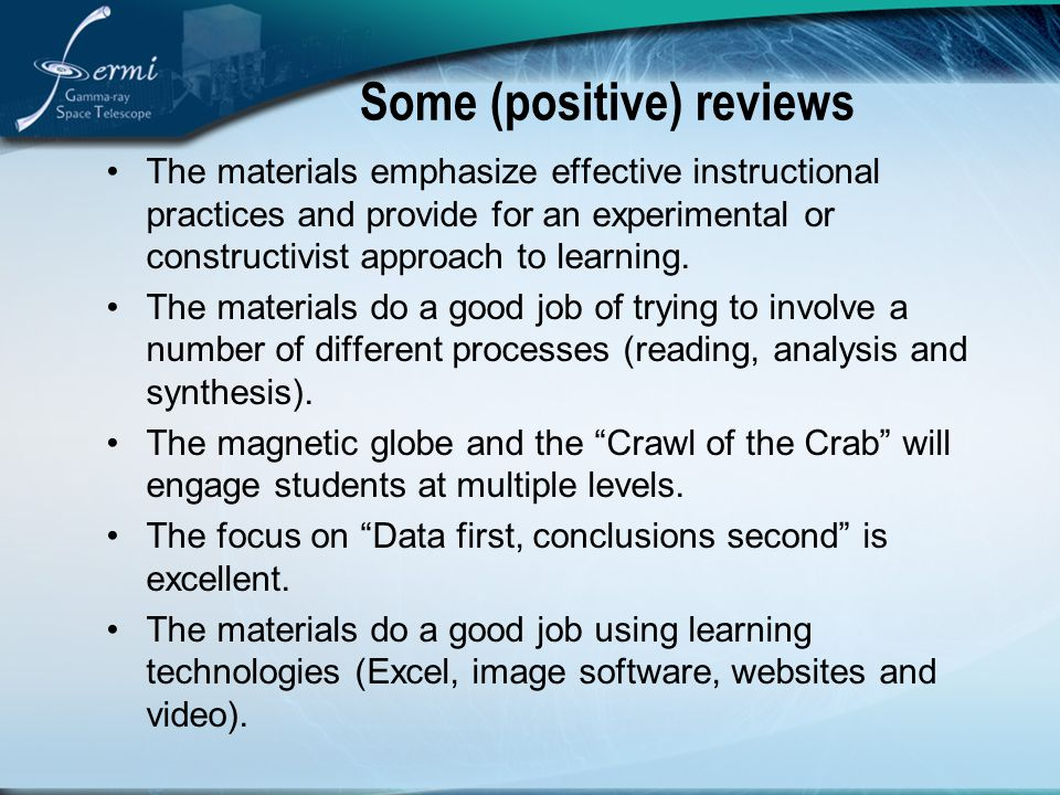 Some (positive) reviews The materials emphasize effective instructional practices and provide for an experimental or constructivist approach to learni