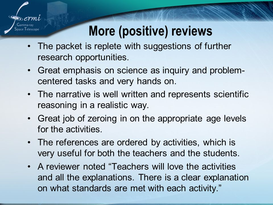 More (positive) reviews The packet is replete with suggestions of further research opportunities.