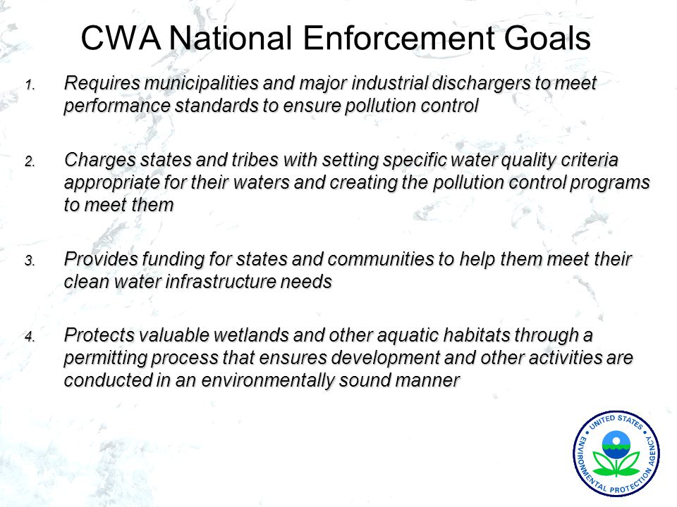CWA National Enforcement Goals 1.