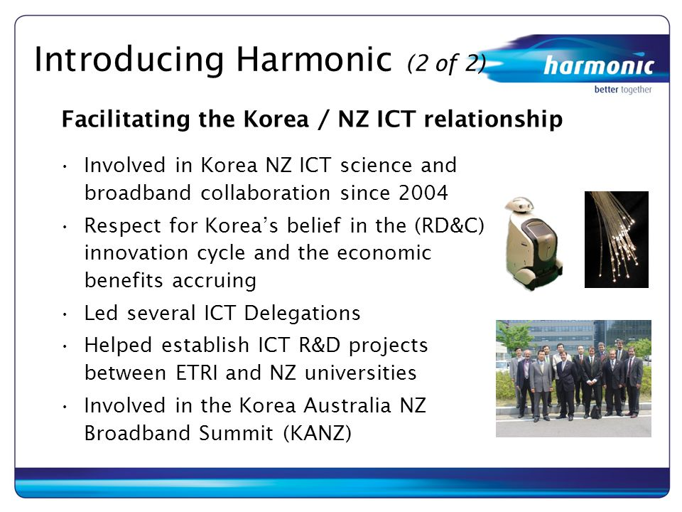 Introducing Harmonic (2 of 2) Involved in Korea NZ ICT science and broadband collaboration since 2004 Respect for Korea's belief in the (RD&C) innovat