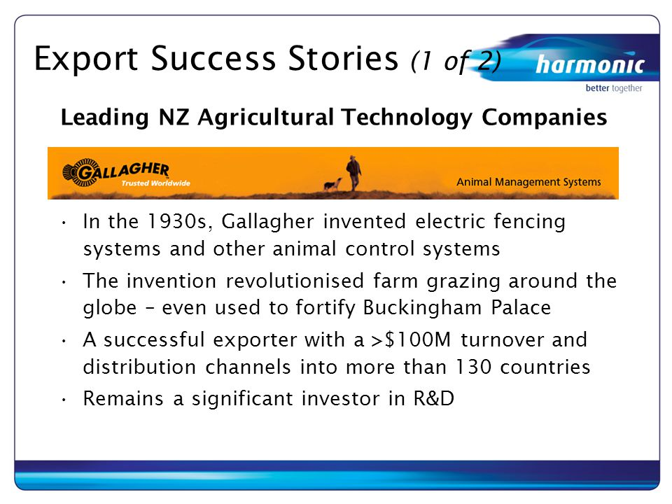 Export Success Stories (1 of 2) In the 1930s, Gallagher invented electric fencing systems and other animal control systems The invention revolutionise
