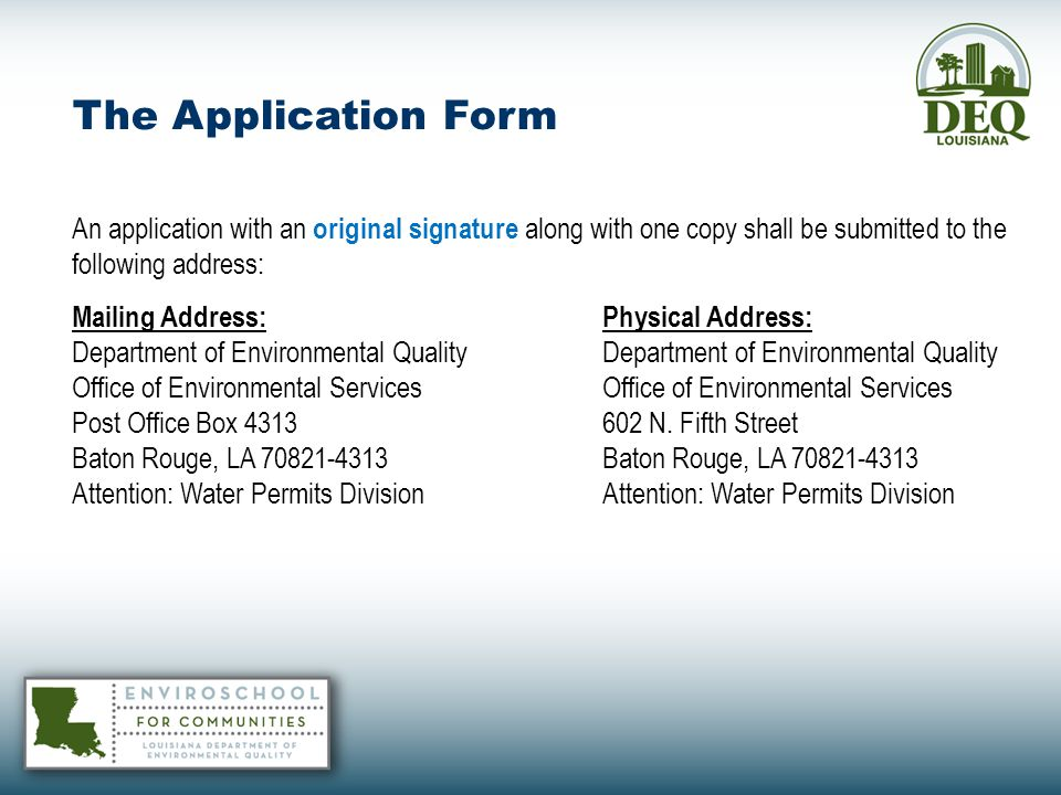 BIOMONITORING Sublethal affects and/or Reasonable Potential Determination may result in WET limits when permit is reissued See the Permitting Guidance Document for Implementation of Louisiana's Water Quality Standards; October 26, 2010, Version Contact Kimberly Corts at (225) 219-3074
