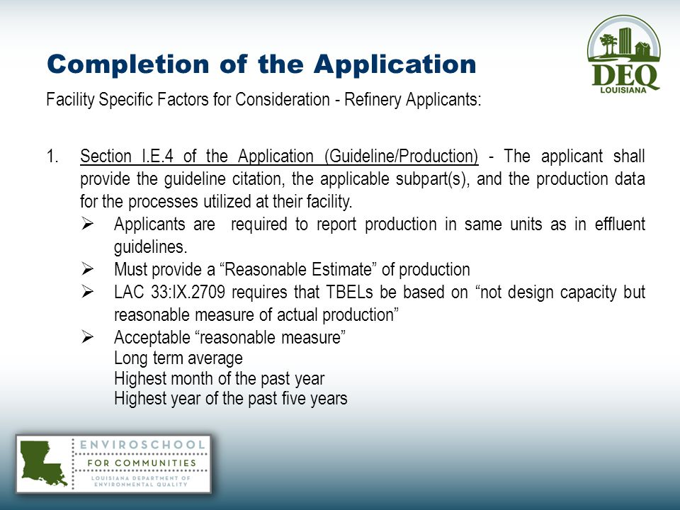 Completion of the Application – Corresponding Application Page