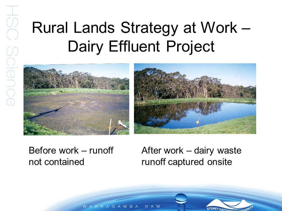 Rural Lands Strategy at Work – Dairy Effluent Project Before work – runoff not contained After work – dairy waste runoff captured onsite