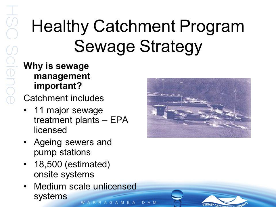 Healthy Catchment Program Sewage Strategy Accelerated Sewerage Scheme Onsite sewage system management Sewerage reticulation system management Unlicensed sewage treatment systems