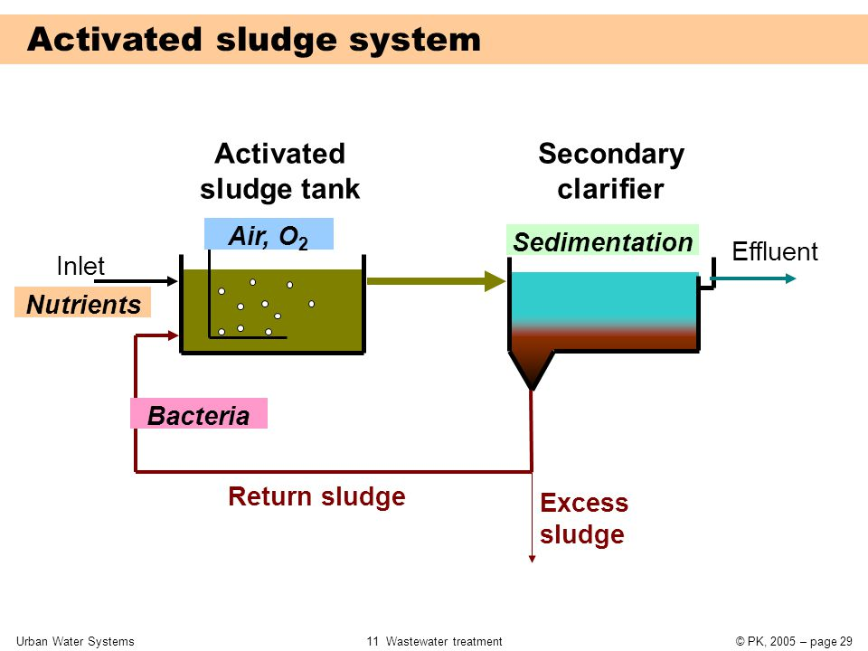 Urban Water Systems11 Wastewater treatment© PK, 2005 – page 29 Inlet Activated sludge tank Secondary clarifier Effluent Return sludge Excess sludge Nu