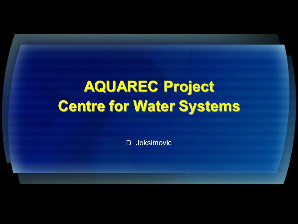 Presentation Outline Background Integrated Decision Support Systems in Water Reuse WTRNet Structure and Features Development of design principles Conclusions