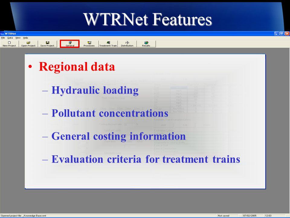 WTRNet Features Evaluation Criteria