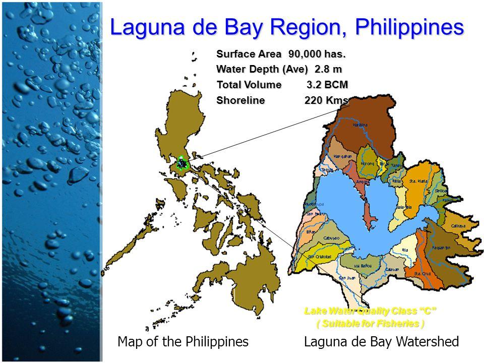 Laguna de Bay Region, Philippines Surface Area 90,000 has.
