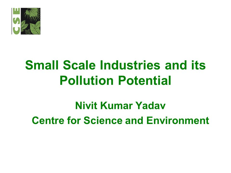 Small Scale Industries and its Pollution Potential Nivit Kumar Yadav Centre for Science and Environment