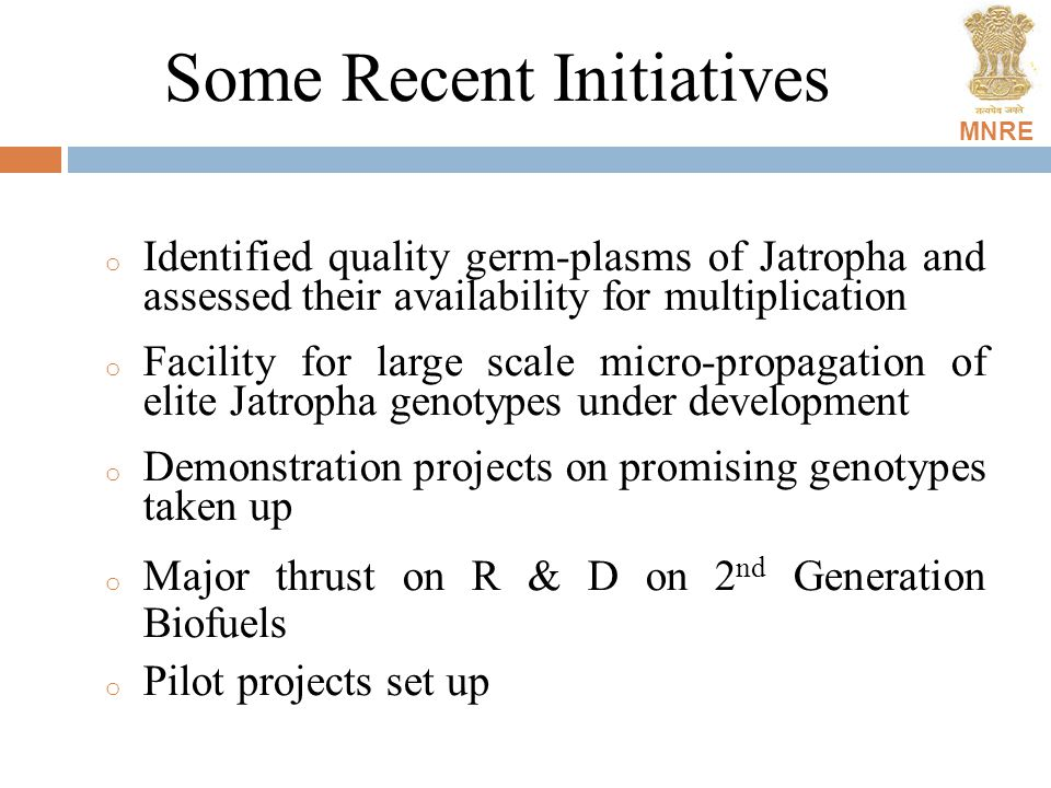 MNRE Some Recent Initiatives o Identified quality germ-plasms of Jatropha and assessed their availability for multiplication o Facility for large scal