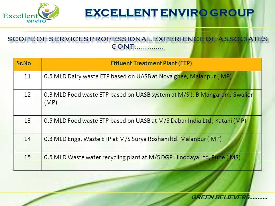 GREEN BELIEVERS……….. Sr.NoEffluent Treatment Plant (ETP) 110.5 MLD Dairy waste ETP based on UASB at Nova ghee, Malanpur ( MP) 120.3 MLD Food waste ETP