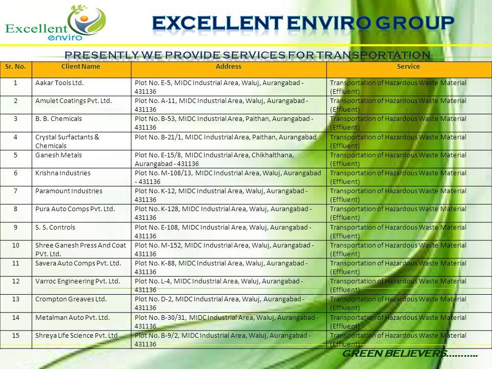 GREEN BELIEVERS……….. Sr. No.Client NameAddressService 1Aakar Tools Ltd.Plot No. E-5, MIDC Industrial Area, Waluj, Aurangabad - 431136 Transportation o