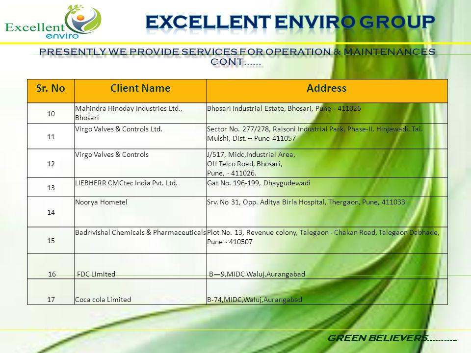 GREEN BELIEVERS……….. Sr. NoClient NameAddress 10 Mahindra Hinoday Industries Ltd., Bhosari Bhosari Industrial Estate, Bhosari, Pune - 411026 11 Virgo