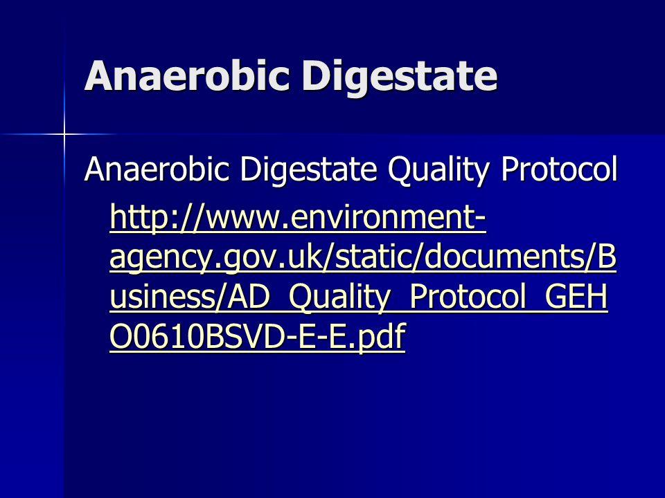 Anaerobic Digestate Anaerobic Digestate Quality Protocol http://www.environment- agency.gov.uk/static/documents/B usiness/AD_Quality_Protocol_GEH O0610BSVD-E-E.pdf http://www.environment- agency.gov.uk/static/documents/B usiness/AD_Quality_Protocol_GEH O0610BSVD-E-E.pdf