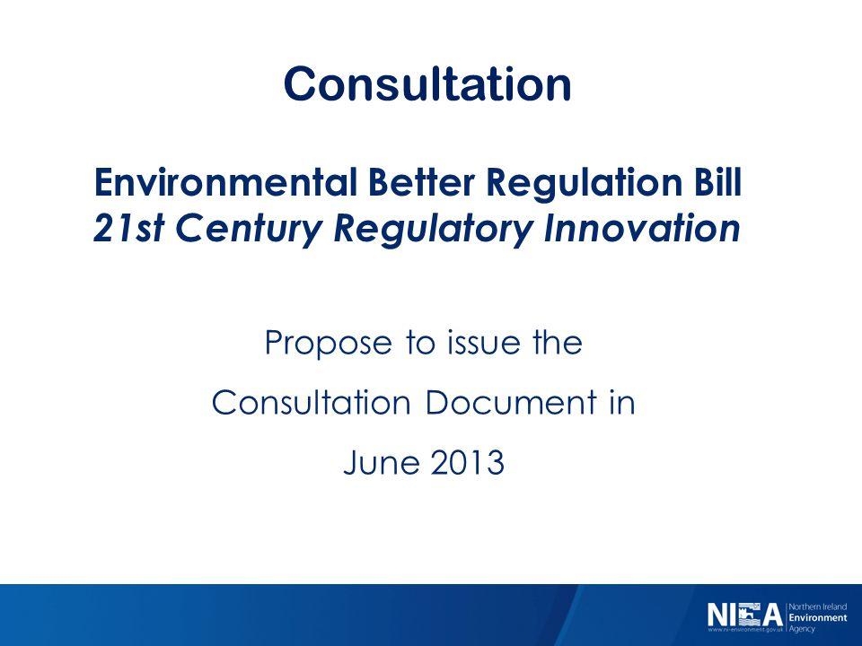 Consultation Environmental Better Regulation Bill 21st Century Regulatory Innovation Propose to issue the Consultation Document in June 2013