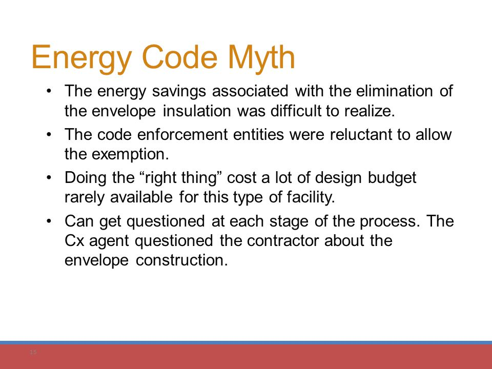 15 Energy Code Myth The energy savings associated with the elimination of the envelope insulation was difficult to realize. The code enforcement entit