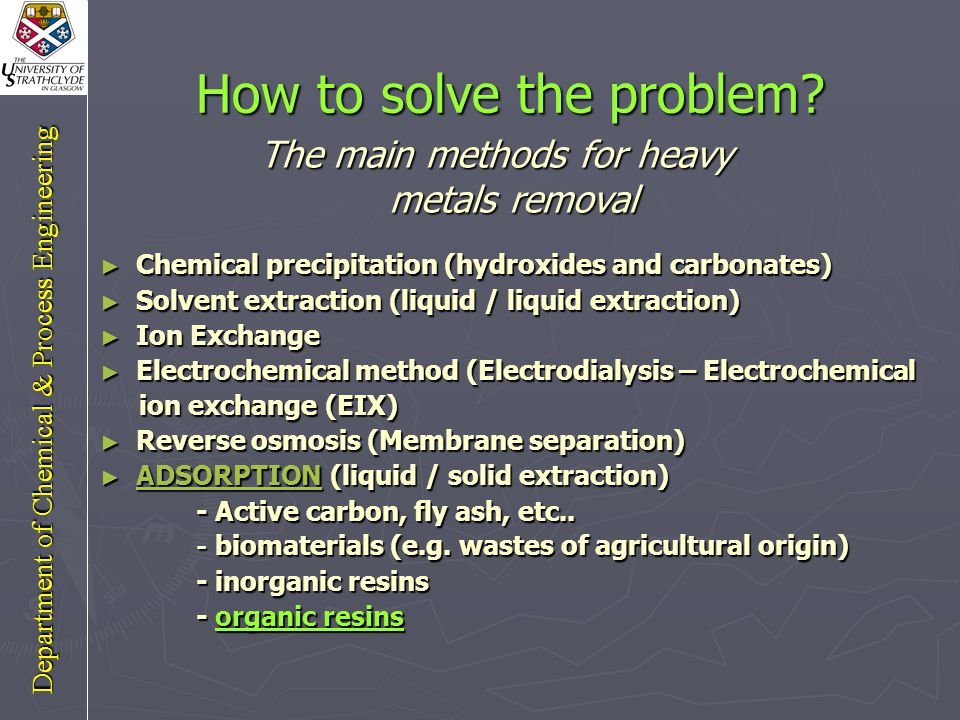 The problem Sources of pollution (Mining-industrial activities- agricultural runoff, etc...) Discharging heavy metals into water bodies Non-degradable Accumulation of toxic heavy metals (World wide problem) Some famous heavy metals present in different wastewaters: Chromium, Lead, Copper, Zinc, Cadmium, Nickel, Iron, Cobalt, Mercury, Silver, Aluminium, …..