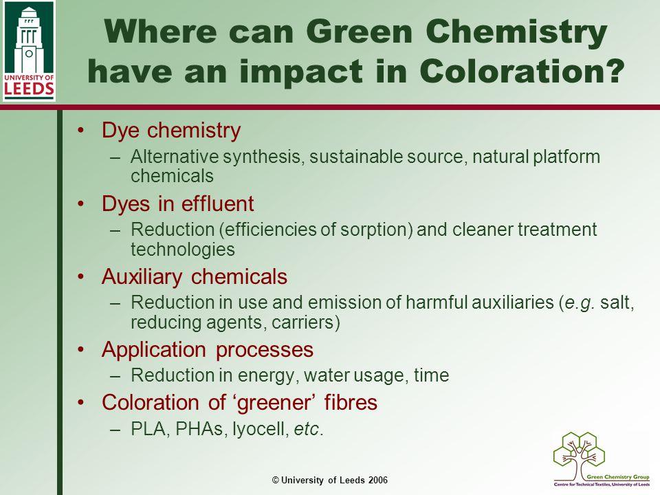 © University of Leeds 2006 Pre-treatment agents Copolymer of diallyldimethylammonium chloride and 3-aminoprop-1-ene (PT1) Copolymer of 4-vinylpyridine quaternised with 1-amino-2-chloroethane (PT2)