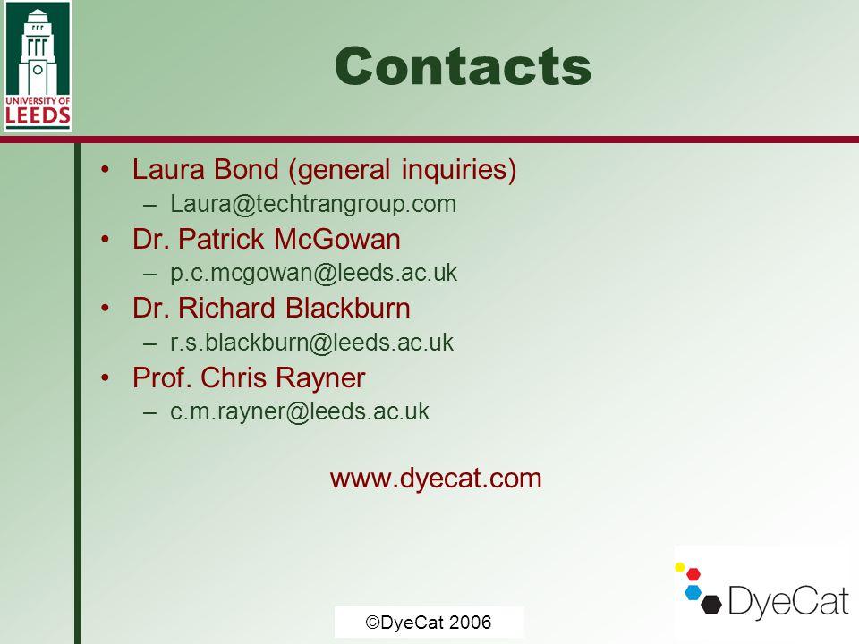© University of Leeds 2006 Contacts Laura Bond (general inquiries) –Laura@techtrangroup.com Dr. Patrick McGowan –p.c.mcgowan@leeds.ac.uk Dr. Richard B