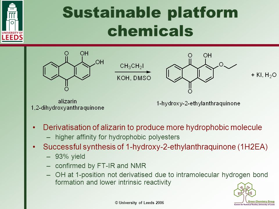 © University of Leeds 2006 Sustainable platform chemicals Problem with application of alizarin is pH sensitivity 1H2EA displays no such sensitivity due to derivatisation of 2-OH pHAlizarin1H2EA 4v.