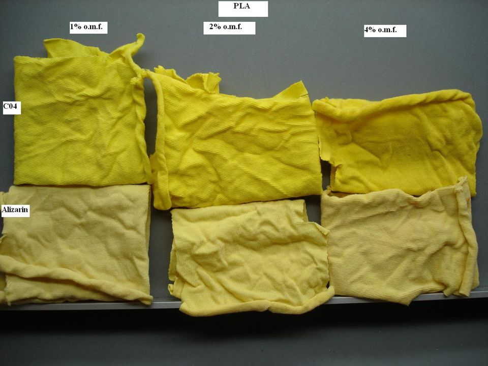 © University of Leeds 2006 Sustainable platform chemicals Wash fastness comparable and excellent on all dyeings Light fastness considerably higher for 1H2EA compared to alizarin –2-OH susceptible to photo-oxidation, as it cannot form an intra- molecular H-bond –In 1H2EA 2-OH derivatised, so not as susceptible to photo-oxidation Table: Light fastness of dyed samples (1-8 scale) Conditions of application Alizarin1H2EA PETPLAPETPLA 1% omf at 90 °C 3 5 1% omf at 100 °C3365/6 1% omf at 130 °C4 6 4% omf at 115 °C3/4 6 4% omf at 130 °C5 6