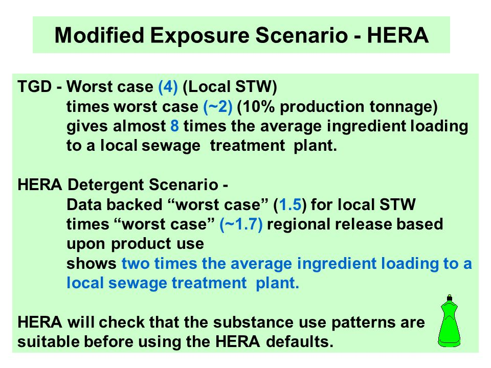 HERA at XXXI CED Kay Fox Modified Exposure Scenario - HERA TGD - Worst case (4) (Local STW) times worst case (~2) (10% production tonnage) gives almos