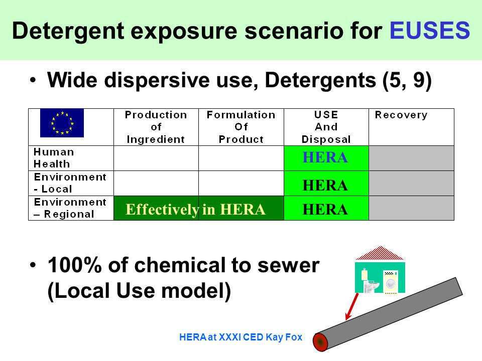HERA at XXXI CED Kay Fox Detergent exposure scenario for EUSES Wide dispersive use, Detergents (5, 9) 100% of chemical to sewer (Local Use model) HERA
