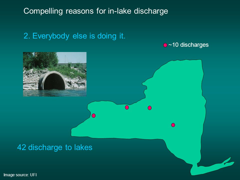 Compelling reasons for in-lake discharge 2.Everybody else is doing it.