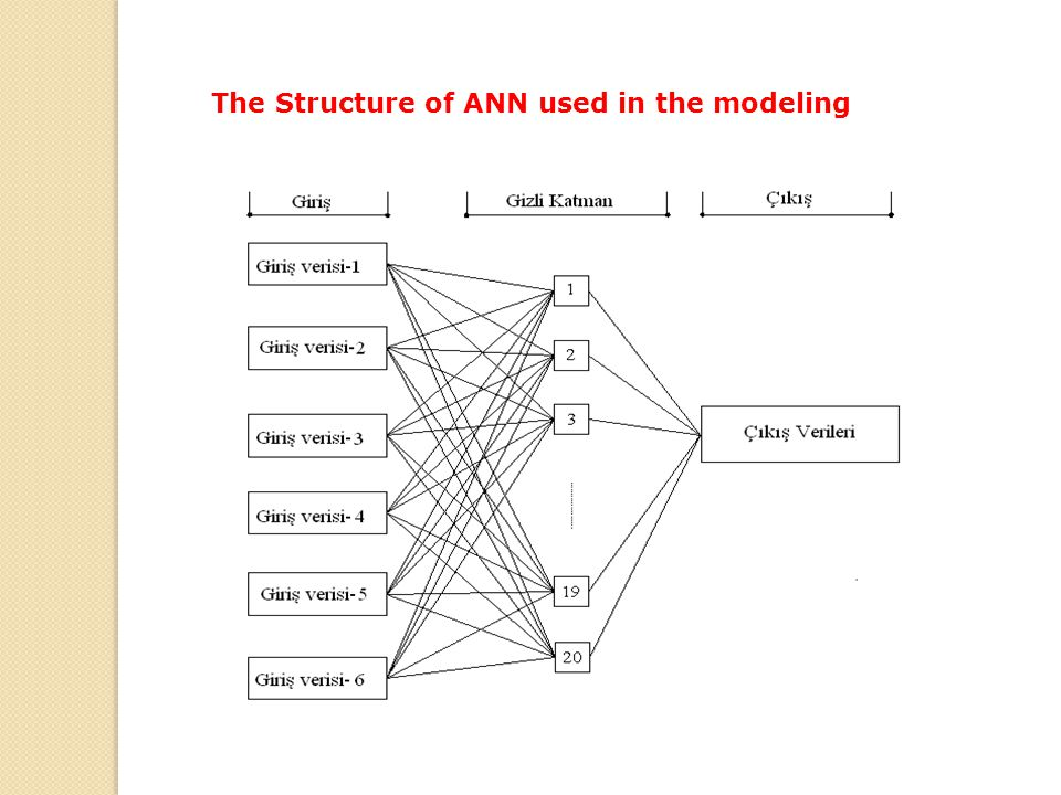 The Structure of ANN used in the modeling