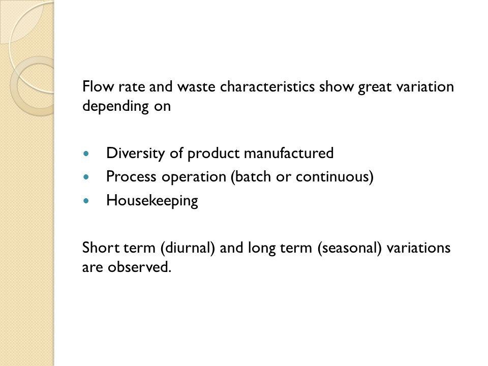 Variations in Flow and Characteristics