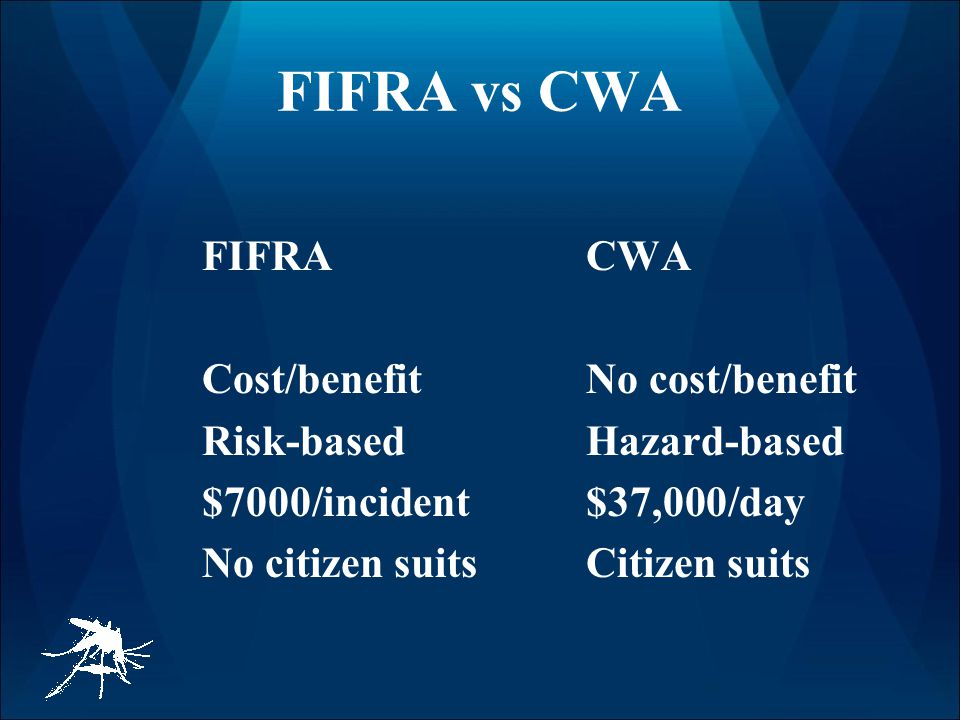 FIFRA vs CWA FIFRACWA Cost/benefitNo cost/benefit Risk-basedHazard-based $7000/incident$37,000/day No citizen suitsCitizen suits