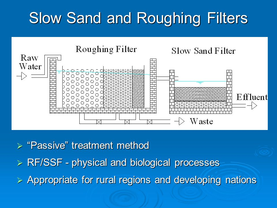 Slow Sand and Roughing Filters  Passive treatment method  RF/SSF - physical and biological processes  Appropriate for rural regions and developing nations