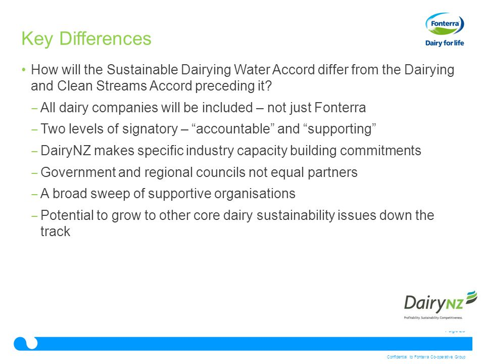 Page 23 Confidential to Fonterra Co-operative Group Key Differences How will the Sustainable Dairying Water Accord differ from the Dairying and Clean
