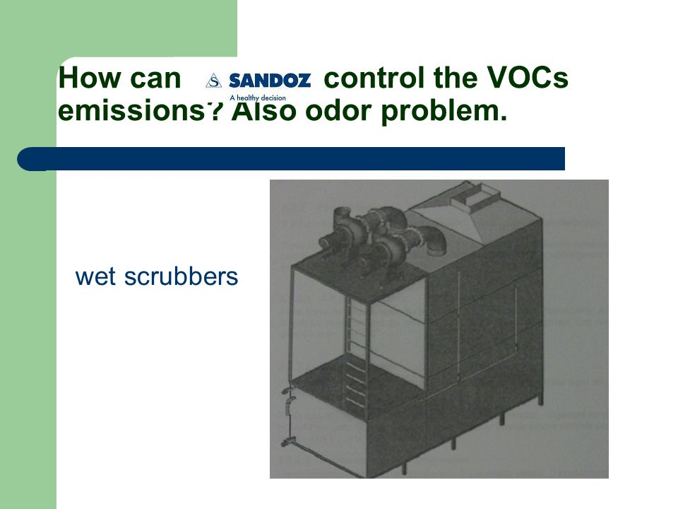 How can control the VOCs emissions Also odor problem. wet scrubbers