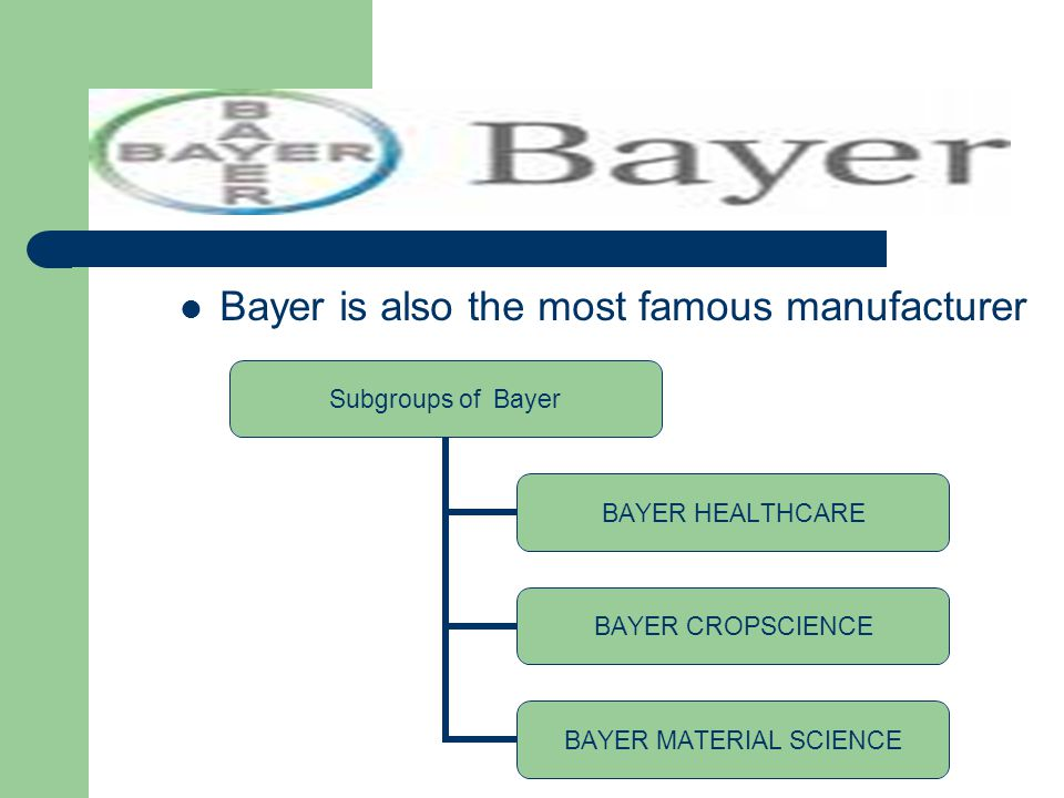 Bayer is also the most famous manufacturer Subgroups of Bayer BAYER HEALTHCARE BAYER CROPSCIENCE BAYER MATERIAL SCIENCE