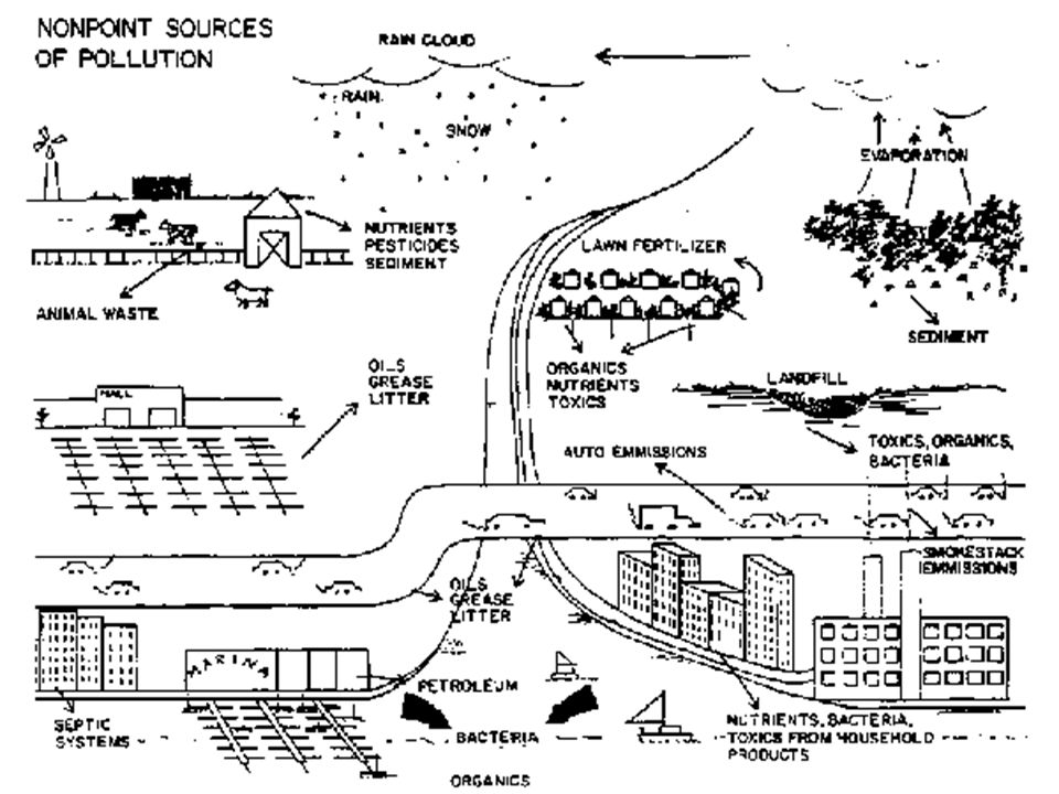 4. How can pollution from point and non-point sources be reduced? Non-point source = more diffuse and less confined Examples: Runoff from roads, agric