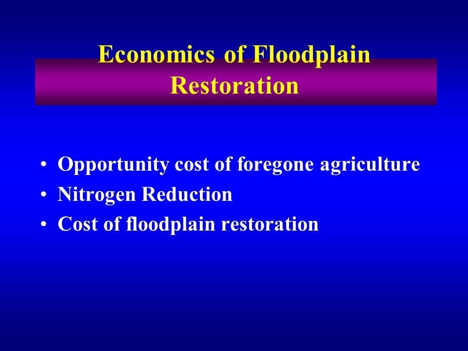 Opportunity cost of foregone agriculture Nitrogen Reduction Cost of floodplain restoration Economics of Floodplain Restoration