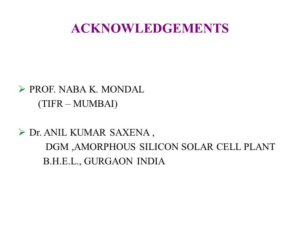 ACKNOWLEDGEMENTS  PROF. NABA K. MONDAL (TIFR – MUMBAI)  Dr.