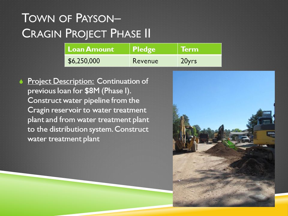 T OWN OF P AYSON – C RAGIN P ROJECT P HASE II  Project Description: Continuation of previous loan for $8M (Phase I).