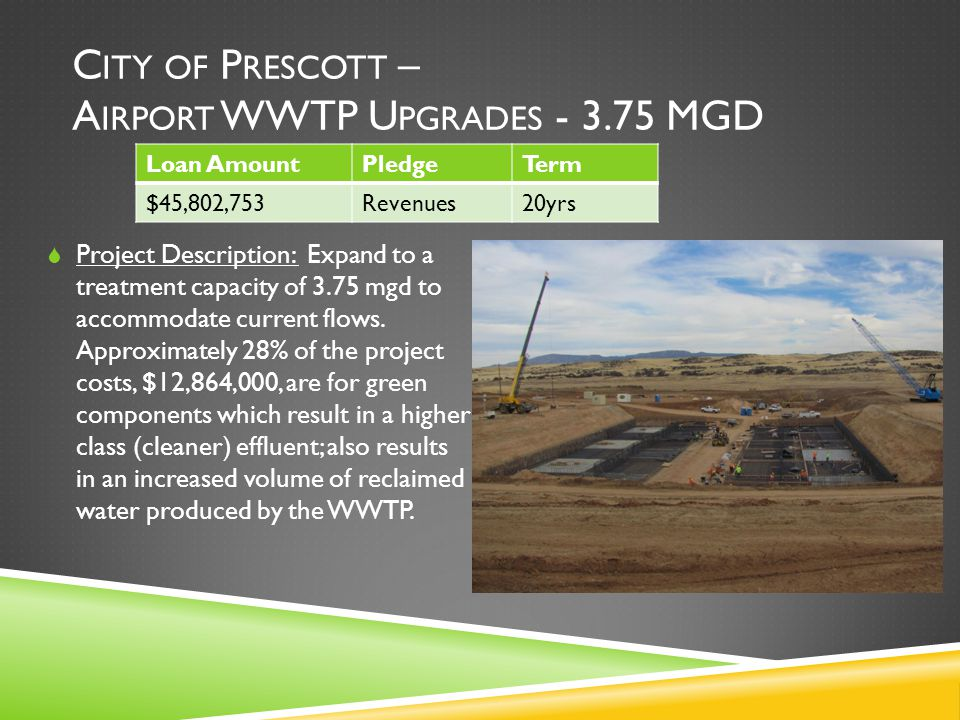 C ITY OF P RESCOTT – A IRPORT WWTP U PGRADES - 3.75 MGD  Project Description: Expand to a treatment capacity of 3.75 mgd to accommodate current flows.