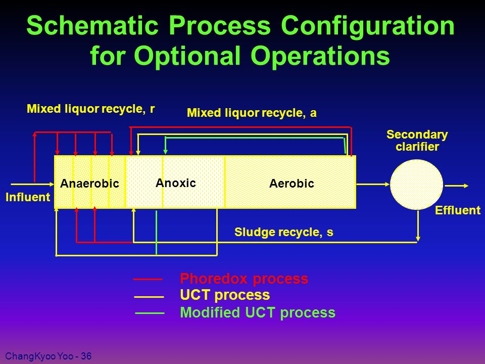 ChangKyoo Yoo - 36 Schematic Process Configuration for Optional Operations AnaerobicAerobic Secondary clarifier Effluent Influent Modified UCT process UCT process Phoredox process Sludge recycle, s Mixed liquor recycle, a Mixed liquor recycle, r Anoxic