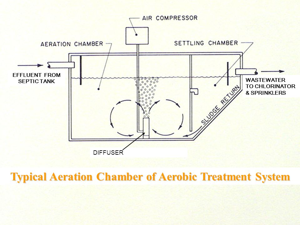 Typical Aeration Chamber of Aerobic Treatment System DIFFUSER EFFLUENT FROM SEPTIC TANK WASTEWATER TO CHLORINATOR & SPRINKLERS