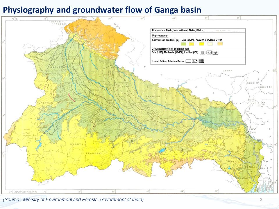 Physiography and groundwater flow of Ganga basin 2 (Source: Ministry of Environment and Forests, Government of India)